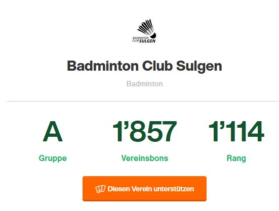 BC Sulgen bei Support your Sport